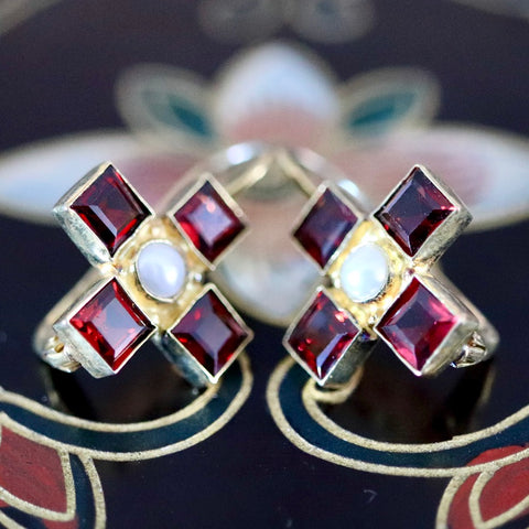 Canterbury Earrings: Garnets, Pearl & 14k Gold