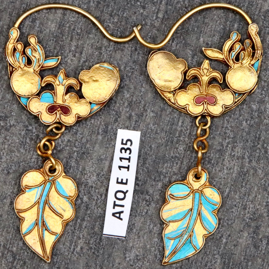 Antique Qing Dynasty Tian-Tsui Feather Dangle Hoop Earrings