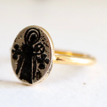 Virgin and Child Byzantine Ring - Gold-Plated