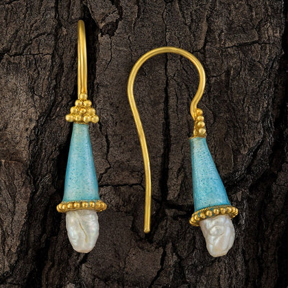 Jane Foole Enamel and Pearl Ice Blue Earrings