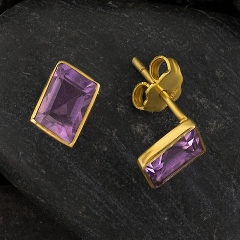 Amethyst Parallelogram Earrings