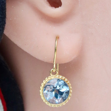 14k Old European Cut Blue Topaz Earrings