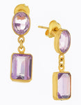 Oval and Rectangle Amethyst Earrings