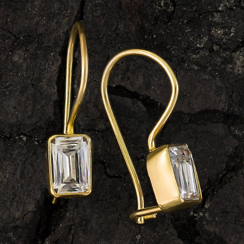 Contemporary Drop Cubic Zirconia Earrings