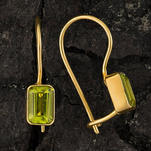 Contemporary Drop Peridot Earrings