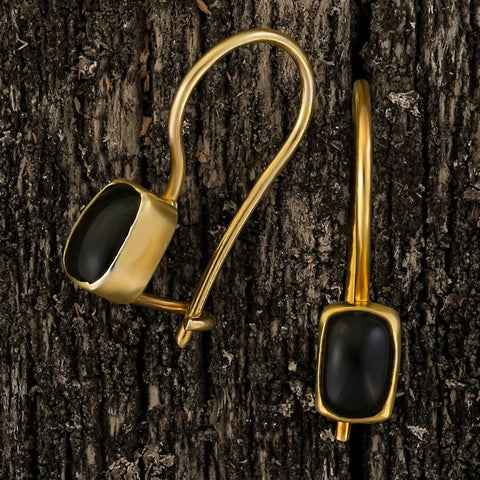Contemporary Drop Onyx Earrings