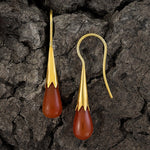 Carnelian Cornflower Bud Egyptian Earrings