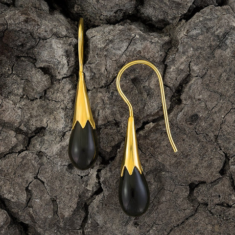 Onyx Cornflower Bud Egyptian Earrings