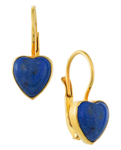 Sweetheart Solitaire Lapis Earrings