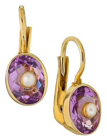 Downtown Diva Amethyst and Pearl Earrings
