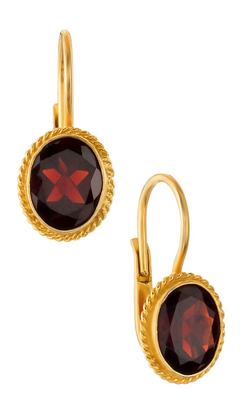 Georgian Drop Faceted Garnet Earrings