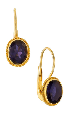Georgian Drop Iolite Earrings