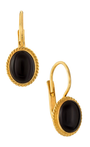 Georgian Drop Onyx Earrings