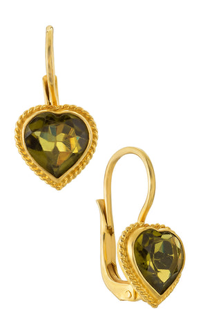 Victorian Heart Peridot Earrings