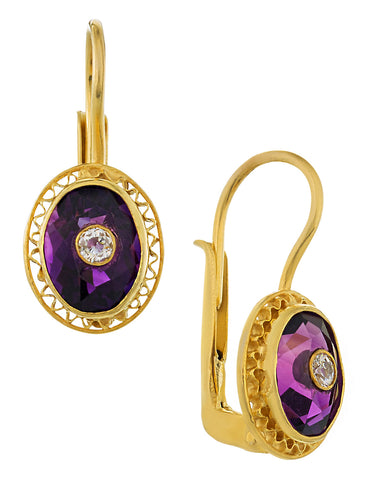 Amethyst and Cubic Zirconia Parlor Earrings