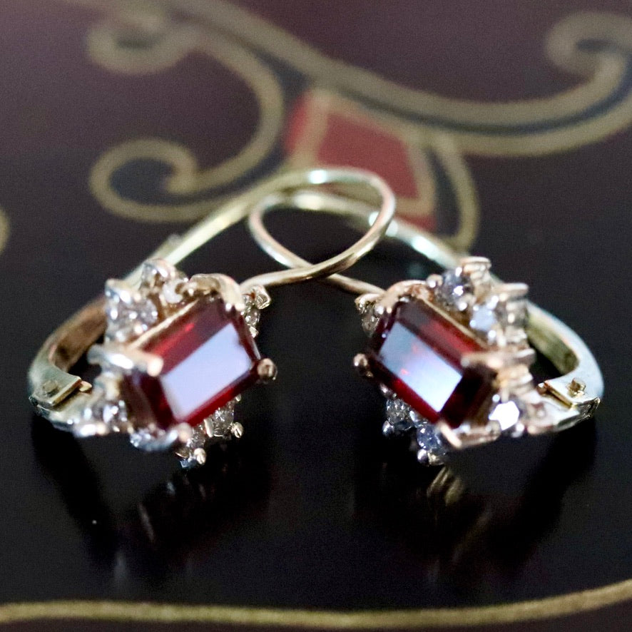Dorothea Brooke 14k Gold, Garnet and Diamond Earrings