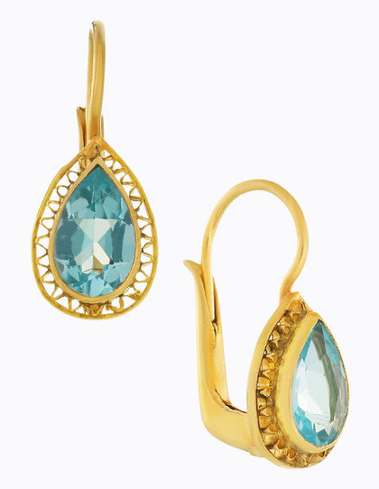 Teardrop Blue Topaz Earrings