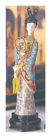 Red Chamber Cloisonne Statue Holding Fan