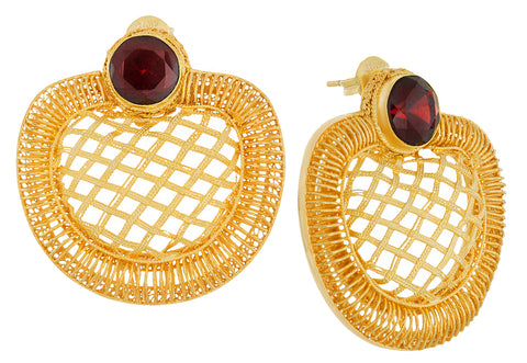 Golden Web Garnet Earrings