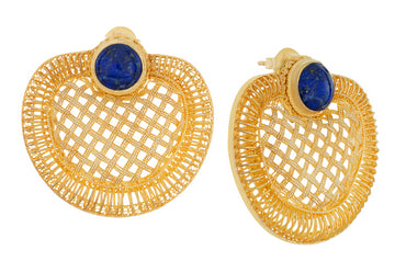 Golden Web Lapis Earrings