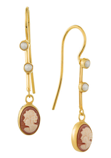 Victoriana Cameo and Pearl Earrings