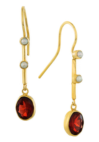 Victoriana Garnet and Pearl Earrings