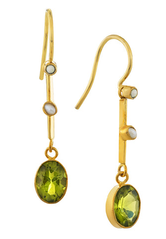 Victoriana Peridot and Pearl Earrings