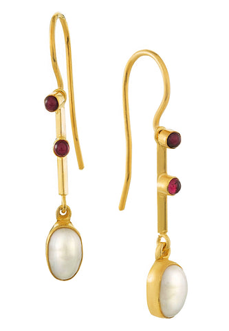 Victoriana Pearl & Garnet Earrings