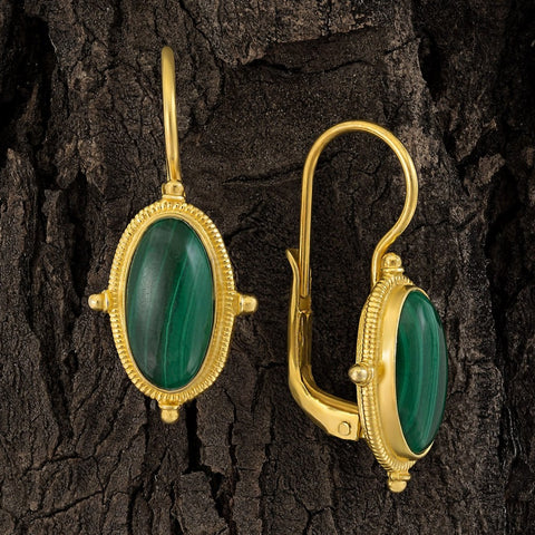 Lewis Carroll Malachite Earrings