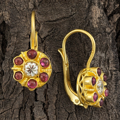Cluster Cubic Zirconia and Garnet Earrings