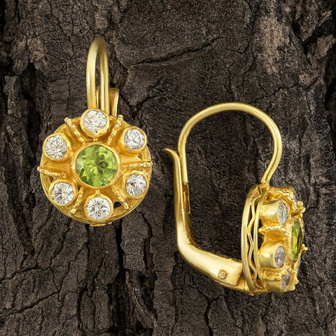 Cluster Peridot and Cubic Zirconia Earrings
