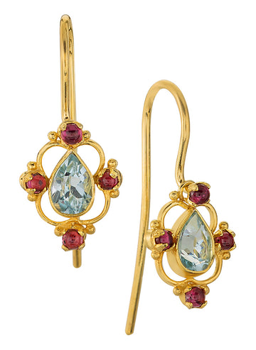 Daphne Dearheart Blue Topaz and Garnet Earrings