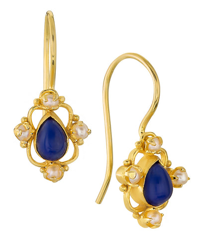 Daphne Dearheart Lapis and Pearl Earrings