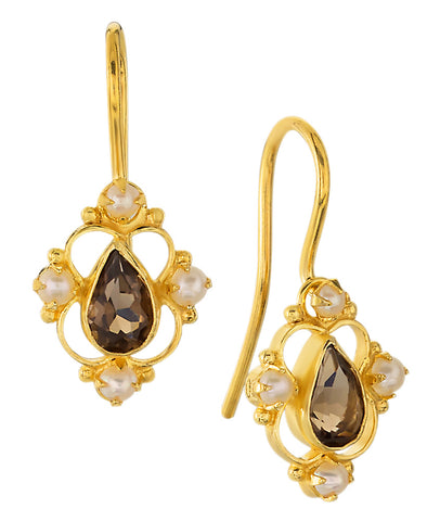 Daphne Dearheart Smoky Topaz and Pearl Earrings