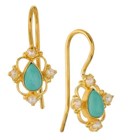 Daphne Dearheart Turquoise and Pearl Earrings