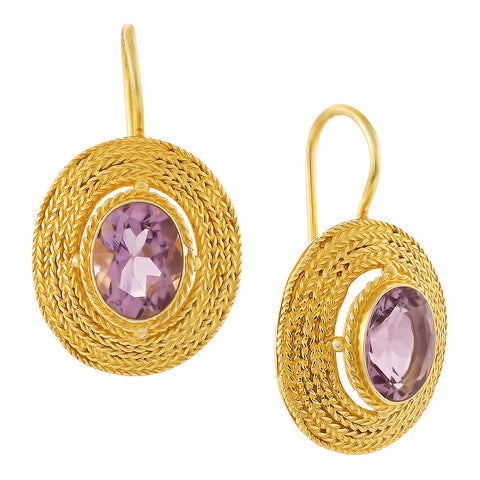 Filigree Basket Amethyst Earrings