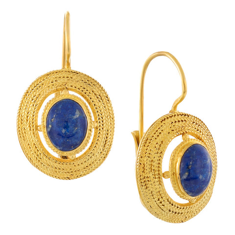 Filigree Basket Lapis Earrings