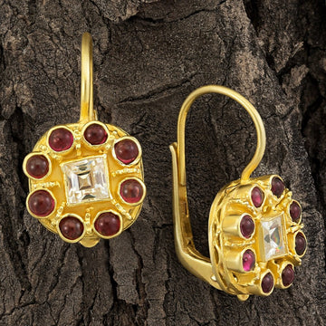 Mediterranean Zirconia and Garnet Earrings