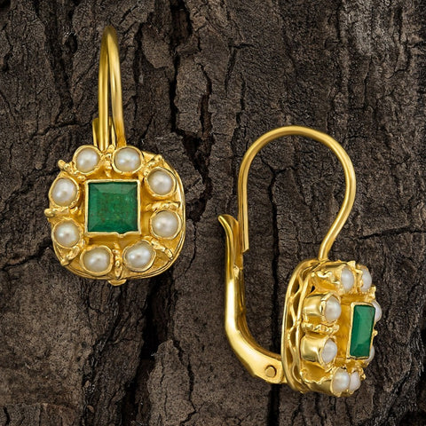 Mediterranean Emerald & Pearl Earrings