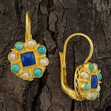 Mediterranean Lapis, Pearl and Turquoise Earrings