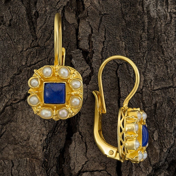 Mediterranean Lapis and Pearl Earrings