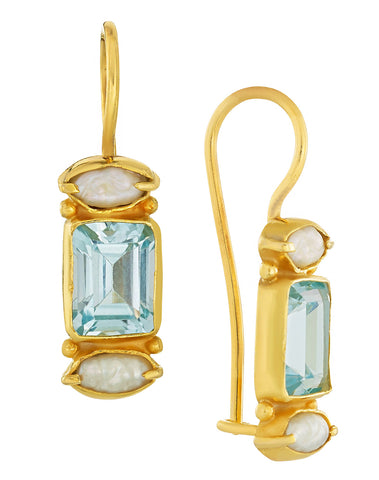 Dorset Blue Topaz and Pearl Earrings