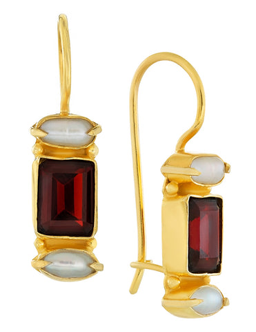 Dorset Garnet and Pearl Earrings