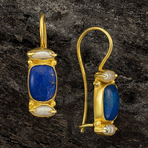 Dorset Lapis & Pearl Earrings