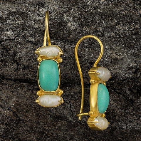 Dorset Turquoise and Pearl Earrings