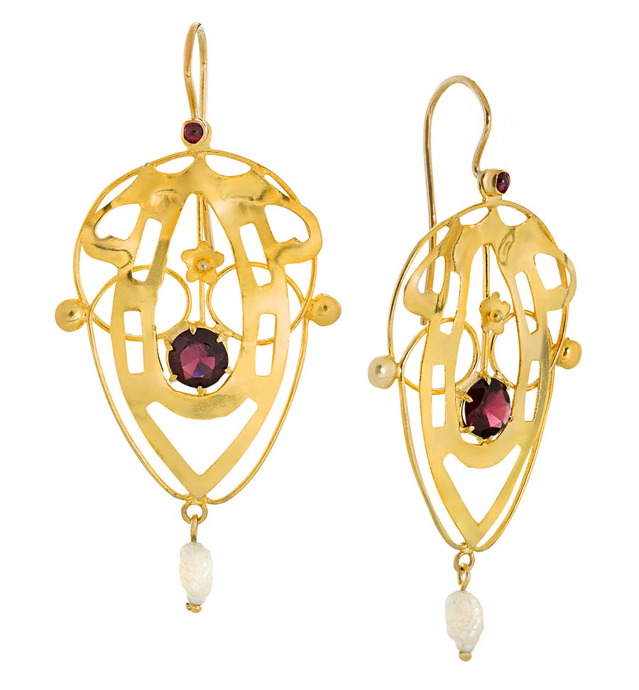 Lyrical Shield Garnet Screw Back Earrings