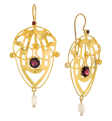 Lyrical Shield Garnet & Pearl Earrings