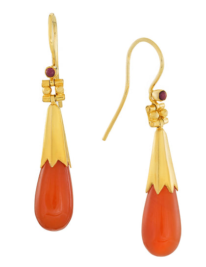 Boscoreale Tassel Drop Carnelian Earrings