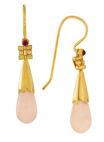 Boscoreale Tassel Rose Quartz Earrings