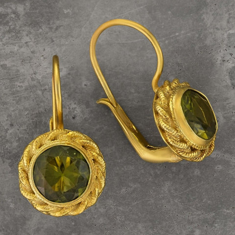 Peridot Love Knot Earrings